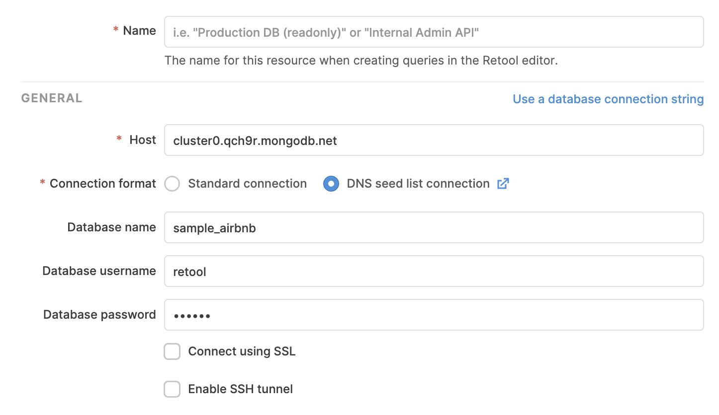 Configuring a MongoDB resource in Retool