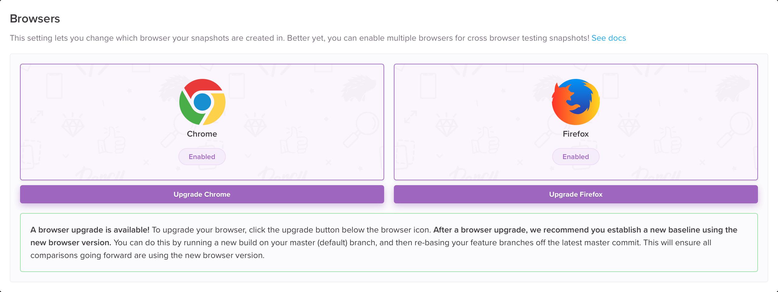 Browser upgrade dialogs