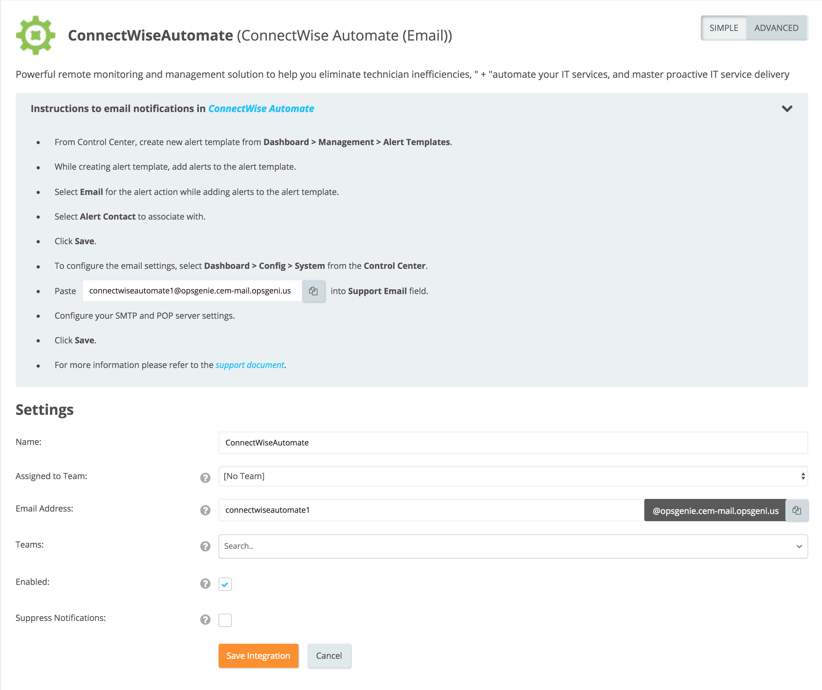 ConnectWise Automate (Email) Integration