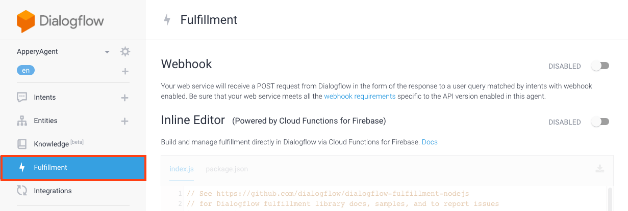 Enabling Dialogflow fulfillment