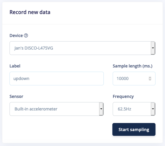 Record new data screen.