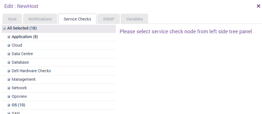 Service checks tab without a service check selected
