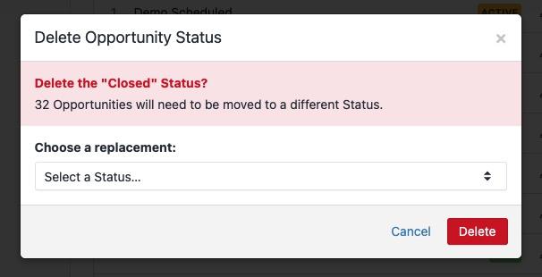 Deleting Opportunity Statuses