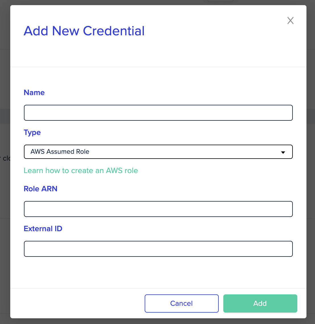 Adding an AWS Cost Credential