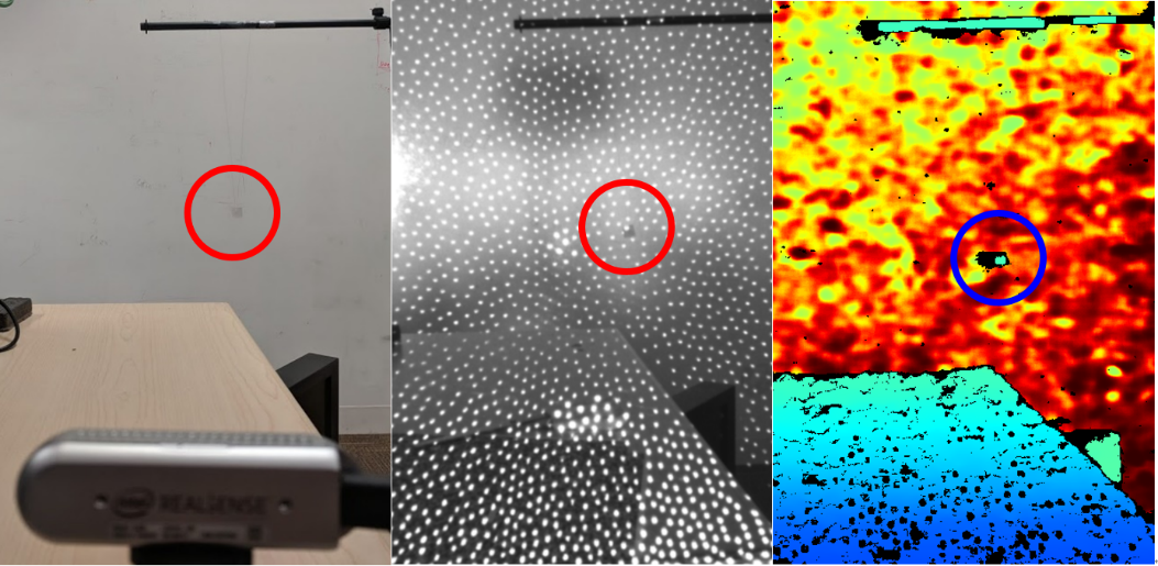 Fig. 12: Showing small 20mm object suspended in air, as indicated by circle. Left: Image of D435 Camera pointing at small object. Center: Infrared image of object. Right: Depth map.