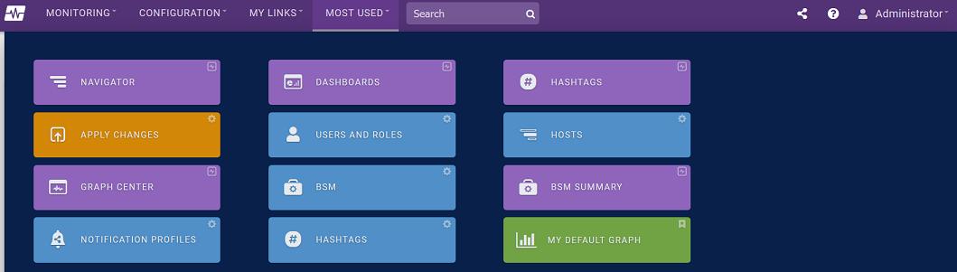 Most Used Navigation Menu Screenshot