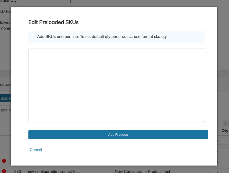Bulk Product Add window