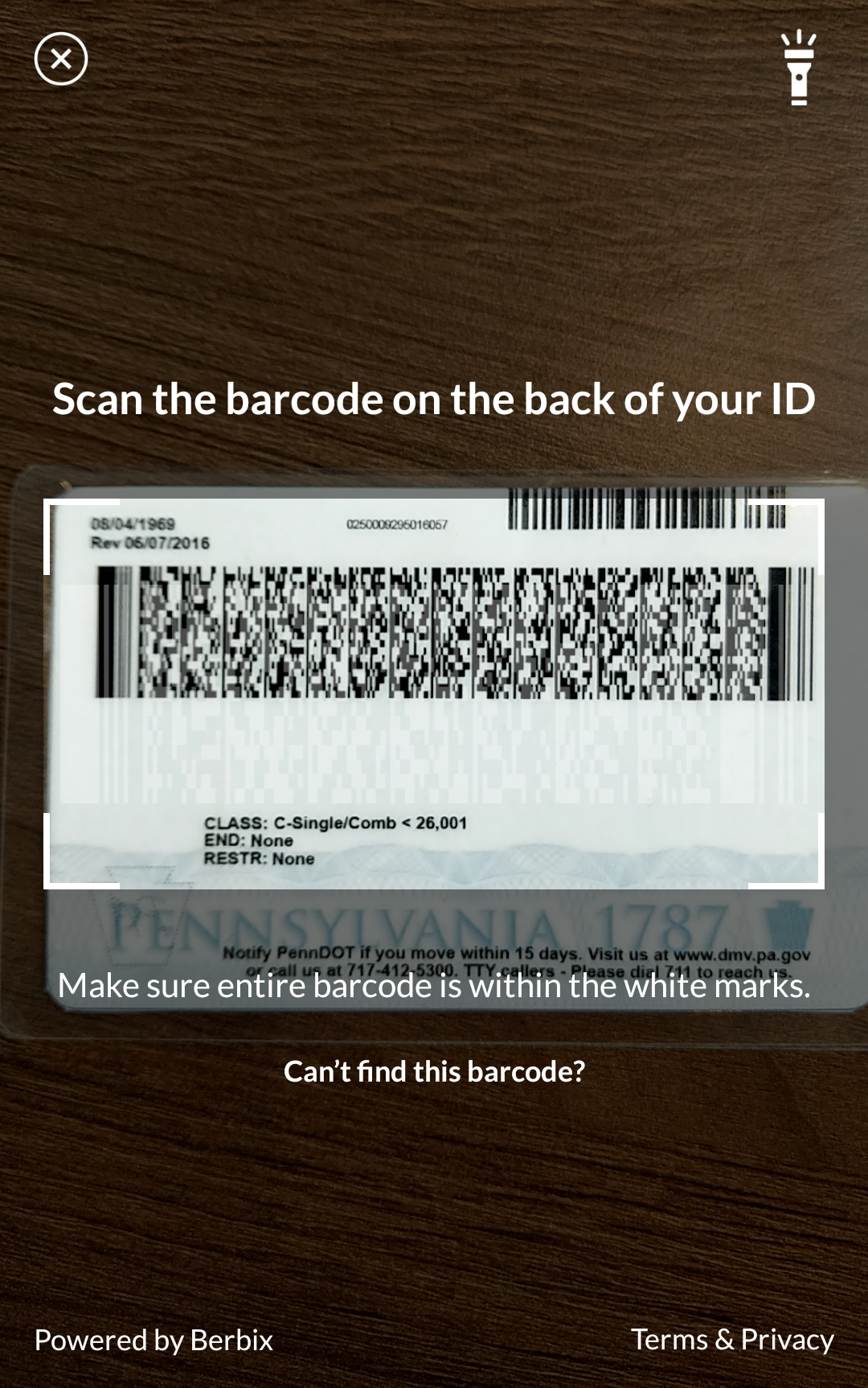 Native mobile barcode scan experience