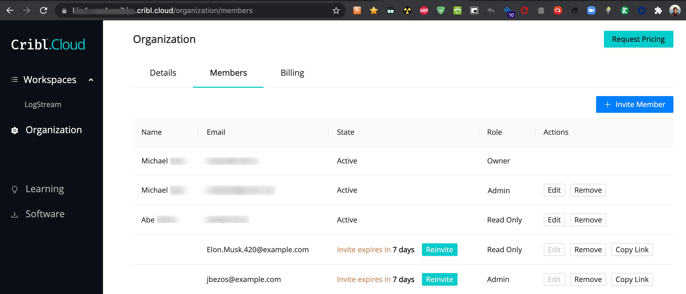 Organization > Members tab: Managing Invites and Members