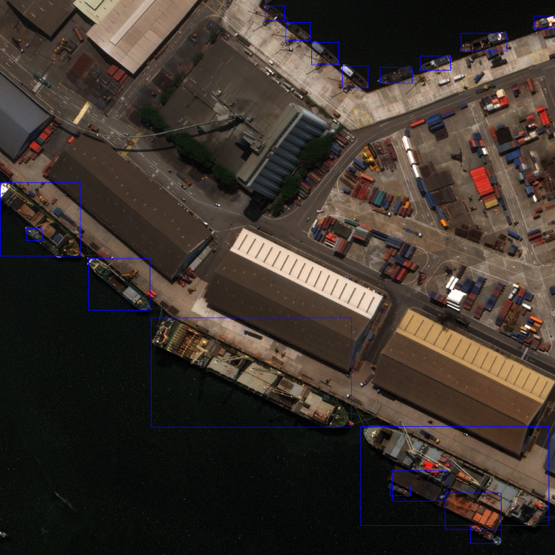 After: WorldView 3 image after ship detection.