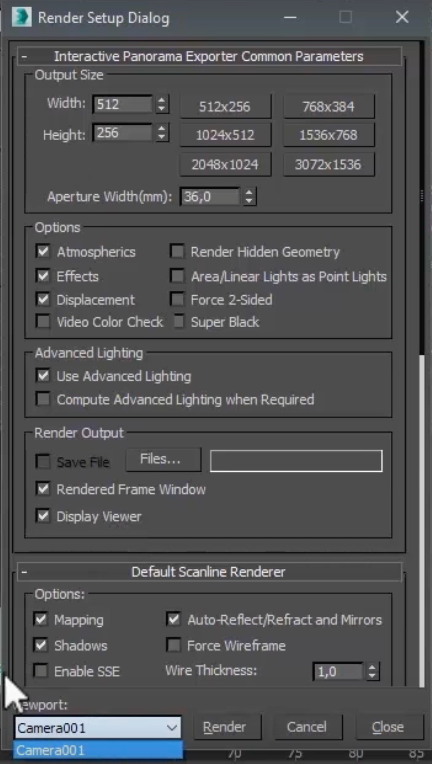 In case, you are using a rendering engine like V Ray, on this windows you will also have to configure its functions.