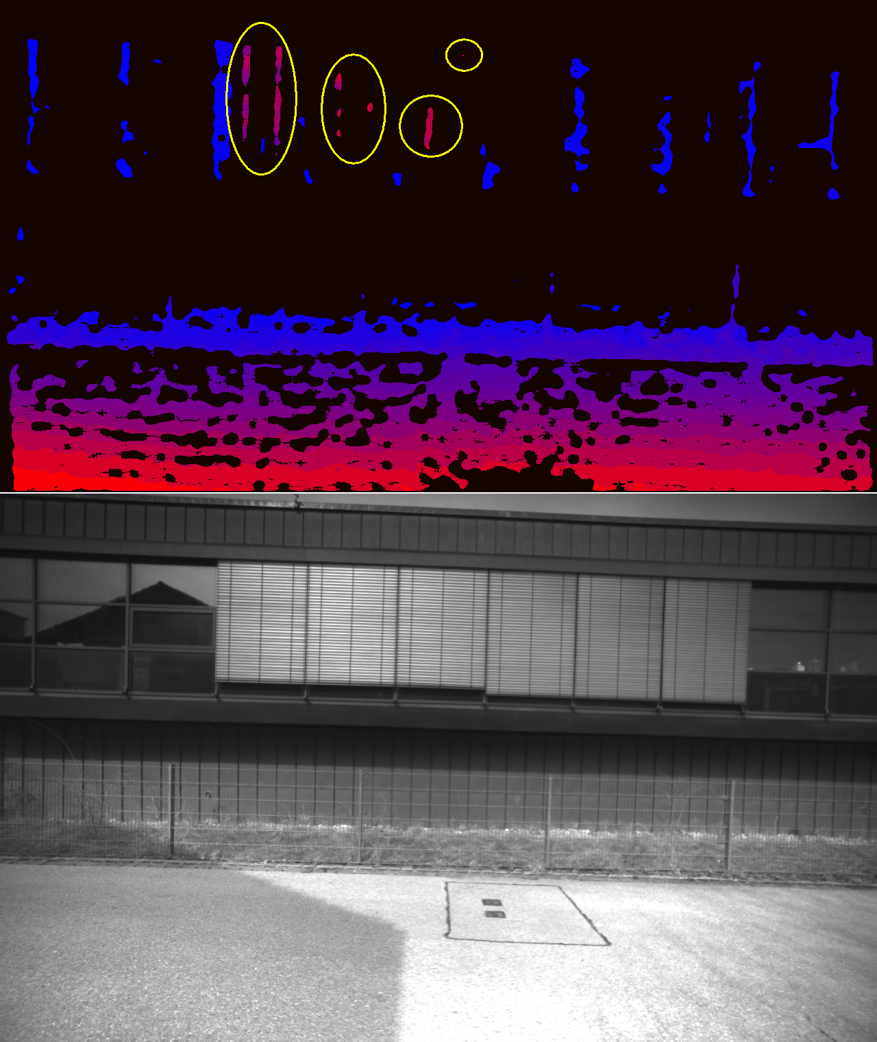 Figure 3. A case in which parts of the blinds on the windows are wrongly indicating depth which is very close to the camera. Near distances are represented in an intense red, while the farther away it gets, the coloring changes to blue.