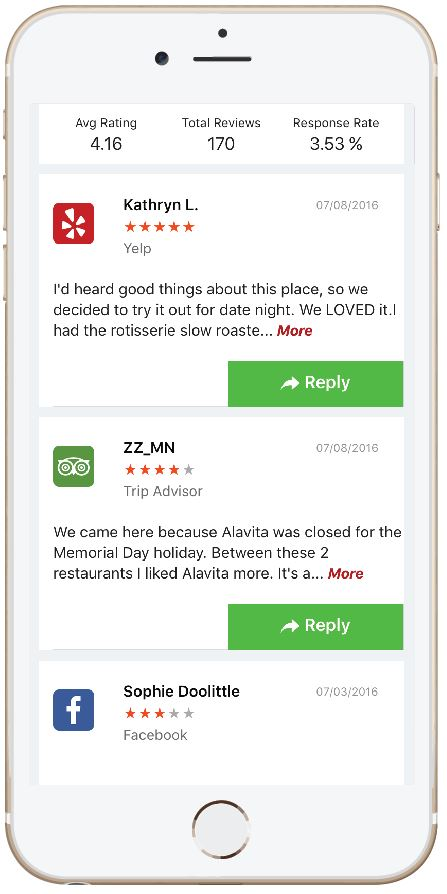 A snapshot of our mobile app that allows users to publicly respond to reviews using the Reply Pro platform.