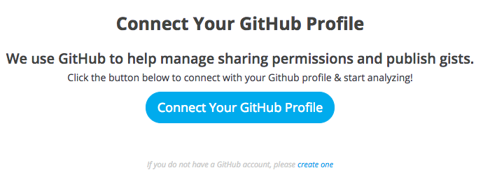 Connect your GitHub profile to GBDX Notebooks, or create a GitHub profile if you don't have one.