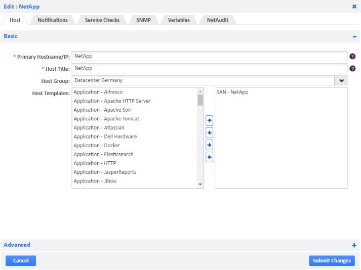 Example of Adding SAN - NetApp Host Template
