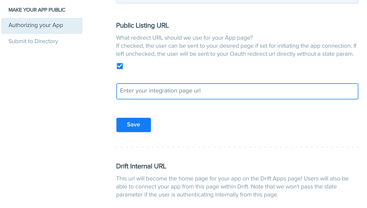 This setting only applies to apps that are approved and become public on the Drift integrations page.