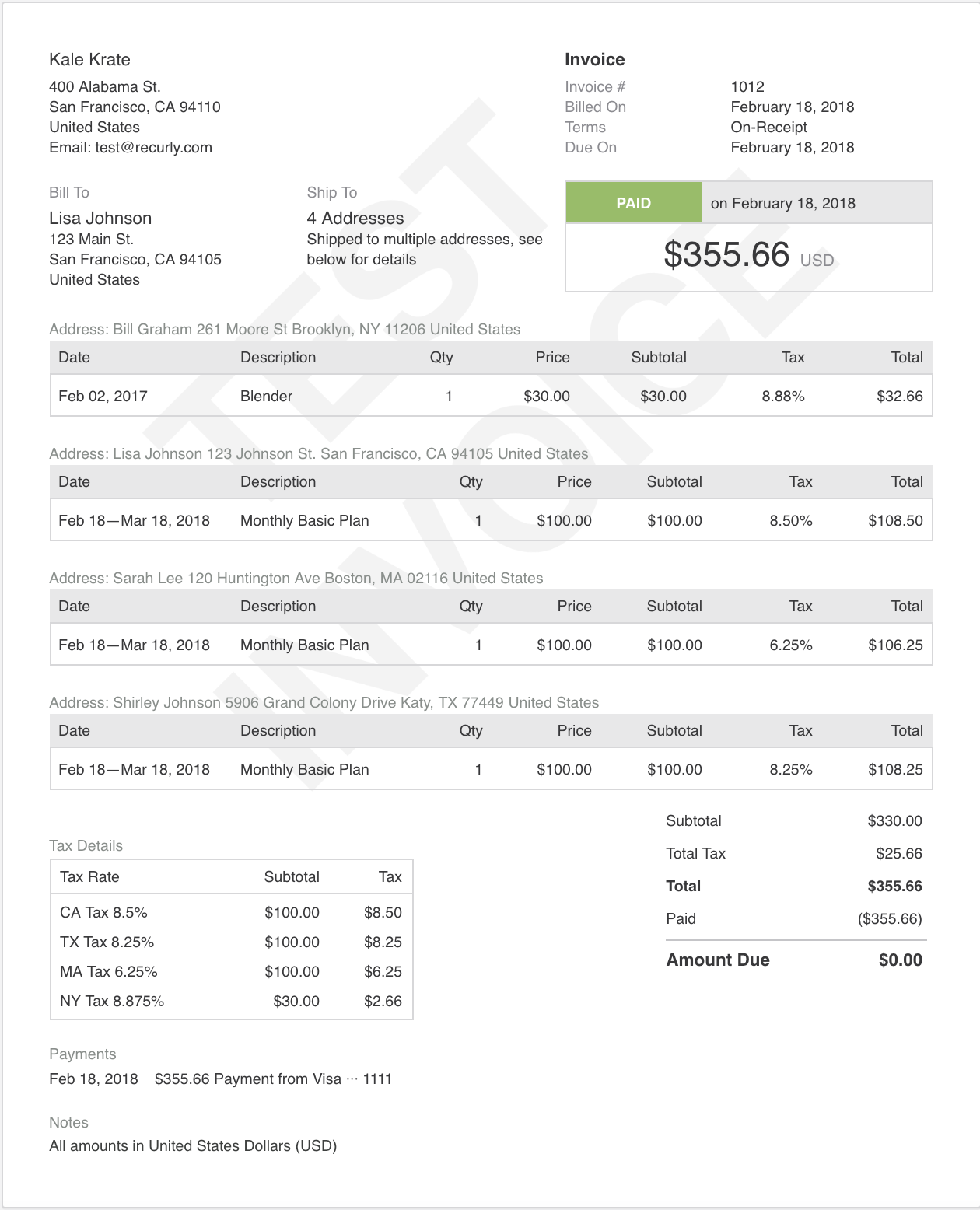 This is the invoice display for a multiple shipping address purchase example, outlined above.