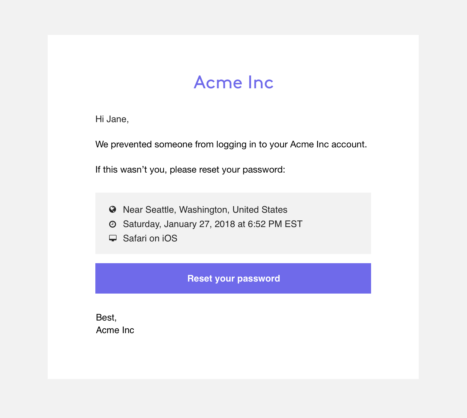 An example of an email that can be sent to a user to notify them of an account breach