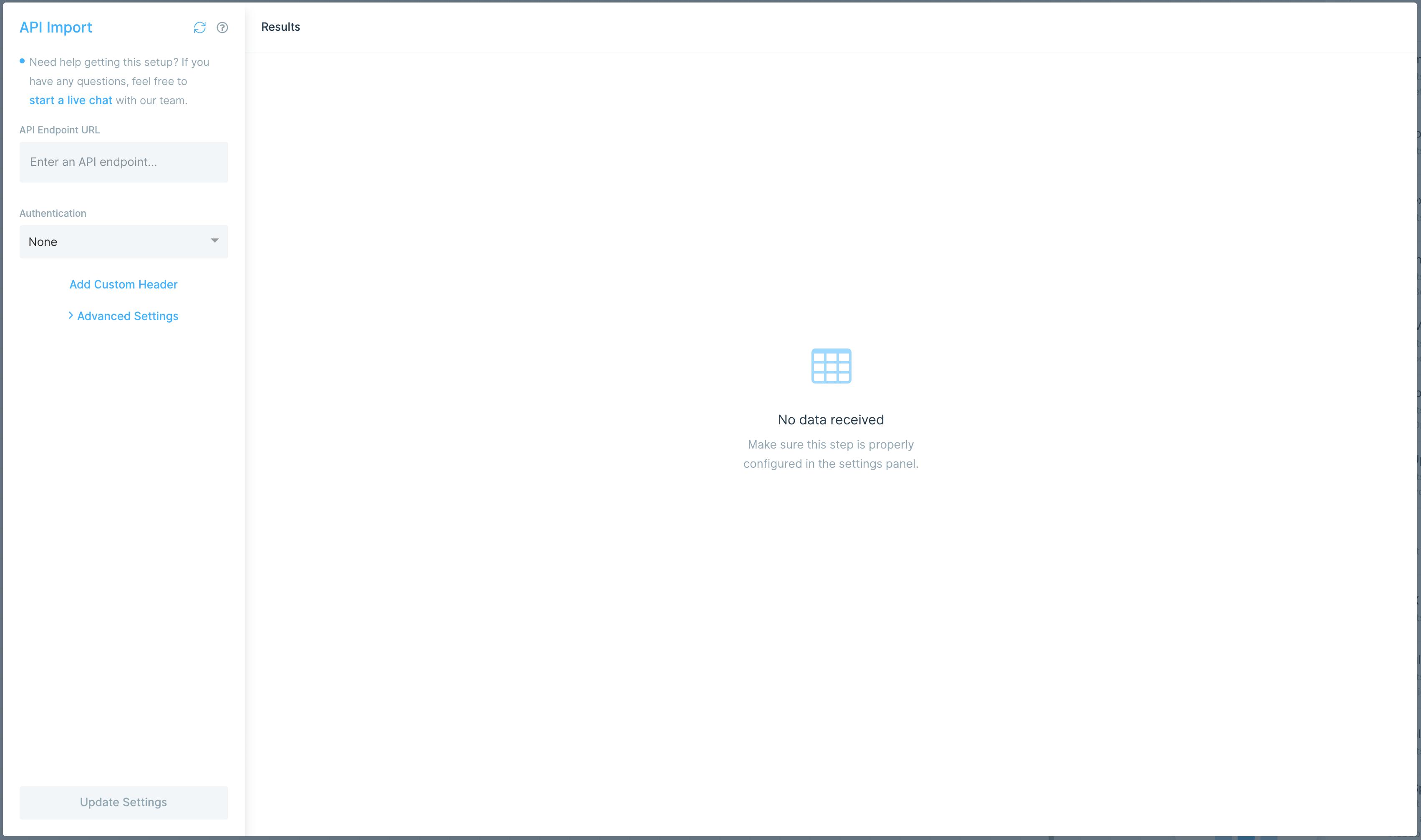 API Import settings