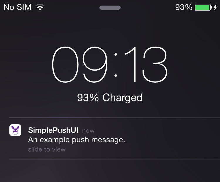 A standard push notification example on iOS