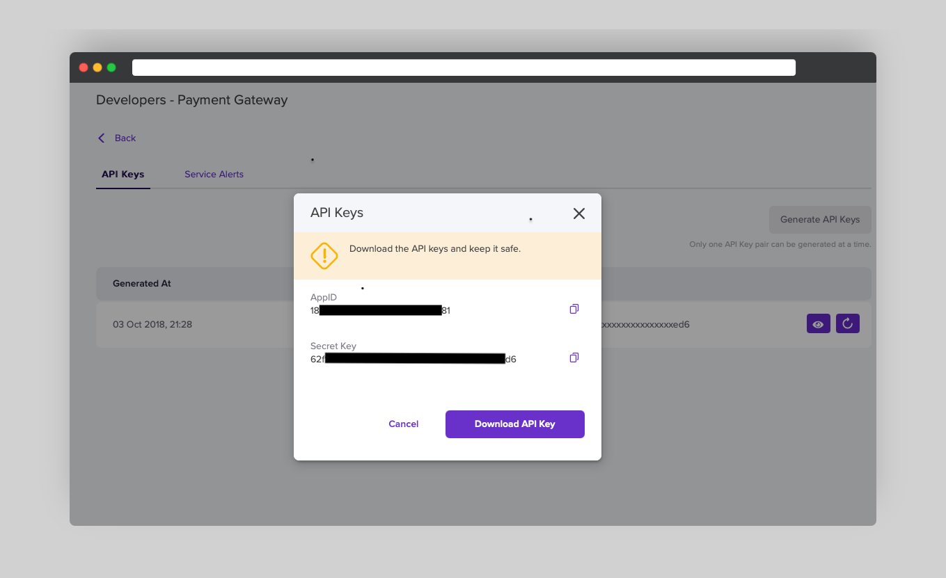 Login to the merchant dashboard and visit the developers section to access your appId and secret key.
