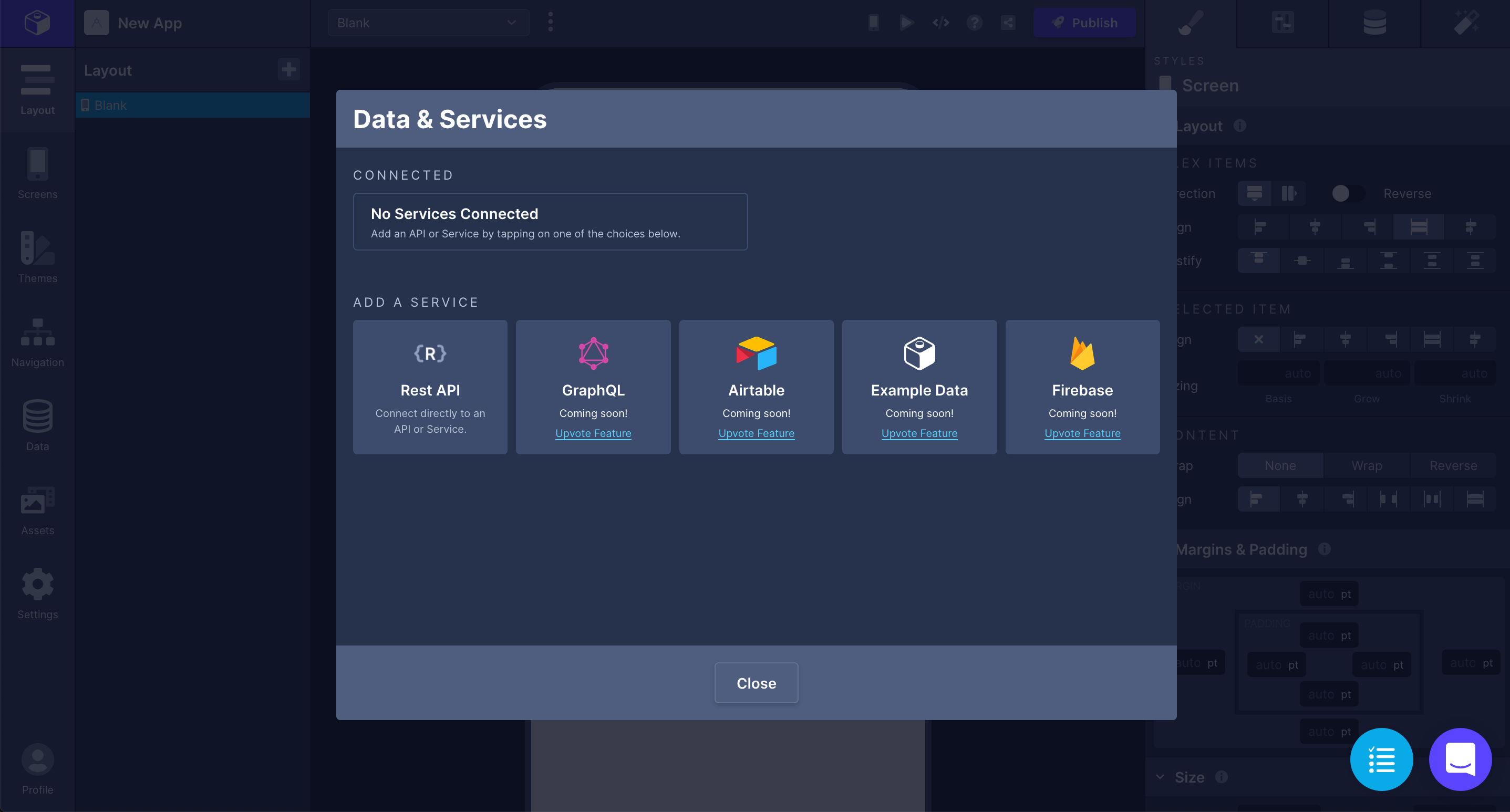 Data and Services modal in Draftbit