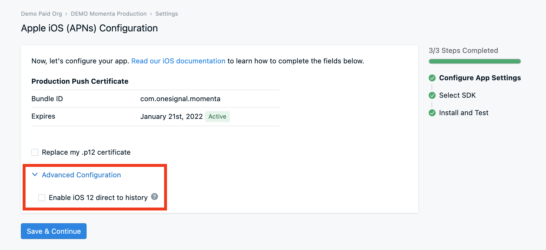 Enabling this checkbox will cause any users running the iOS 12 to automatically be enrolled in provisional notifications.