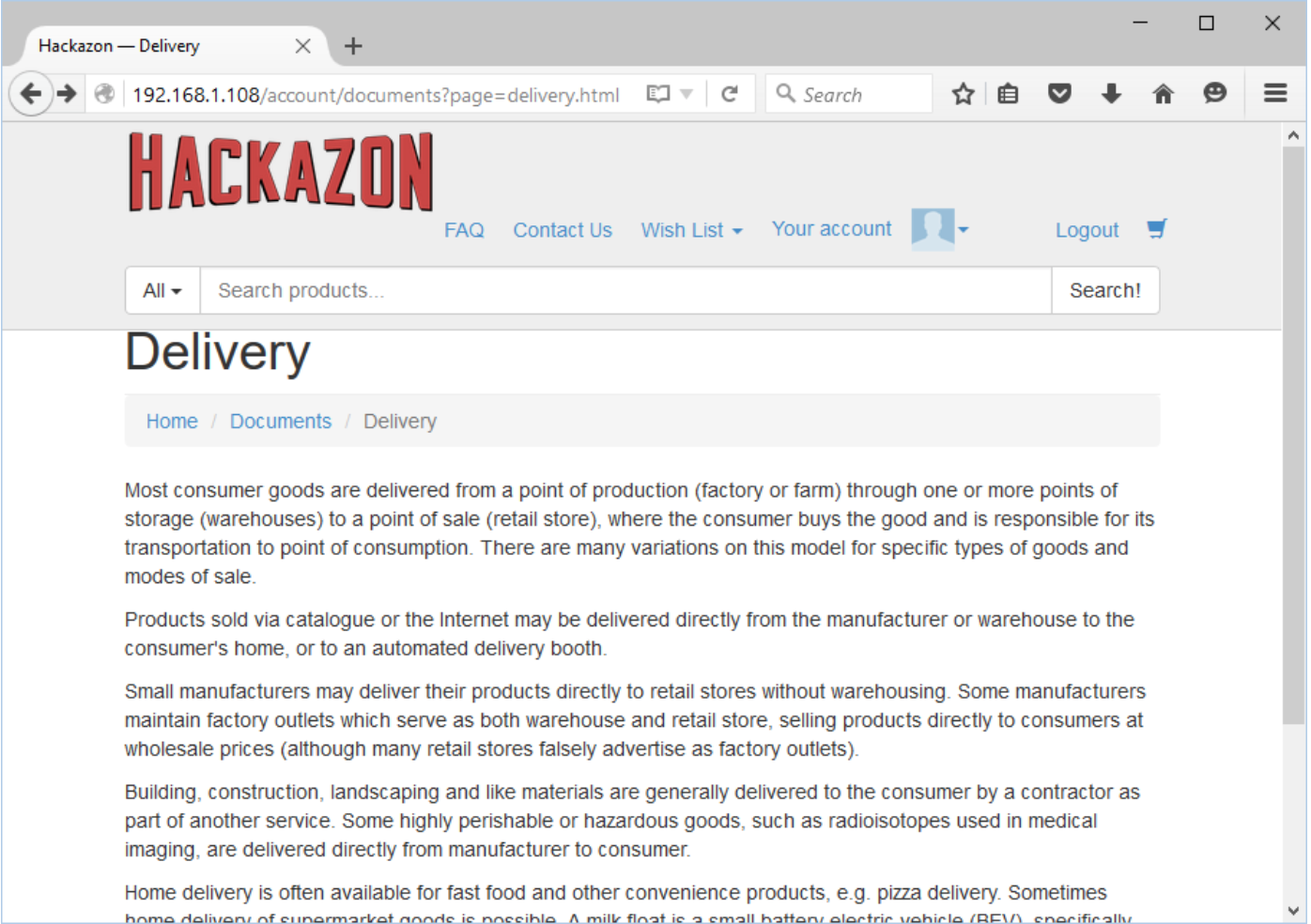 Conducting a Basic Test Manually Against Hackazon
