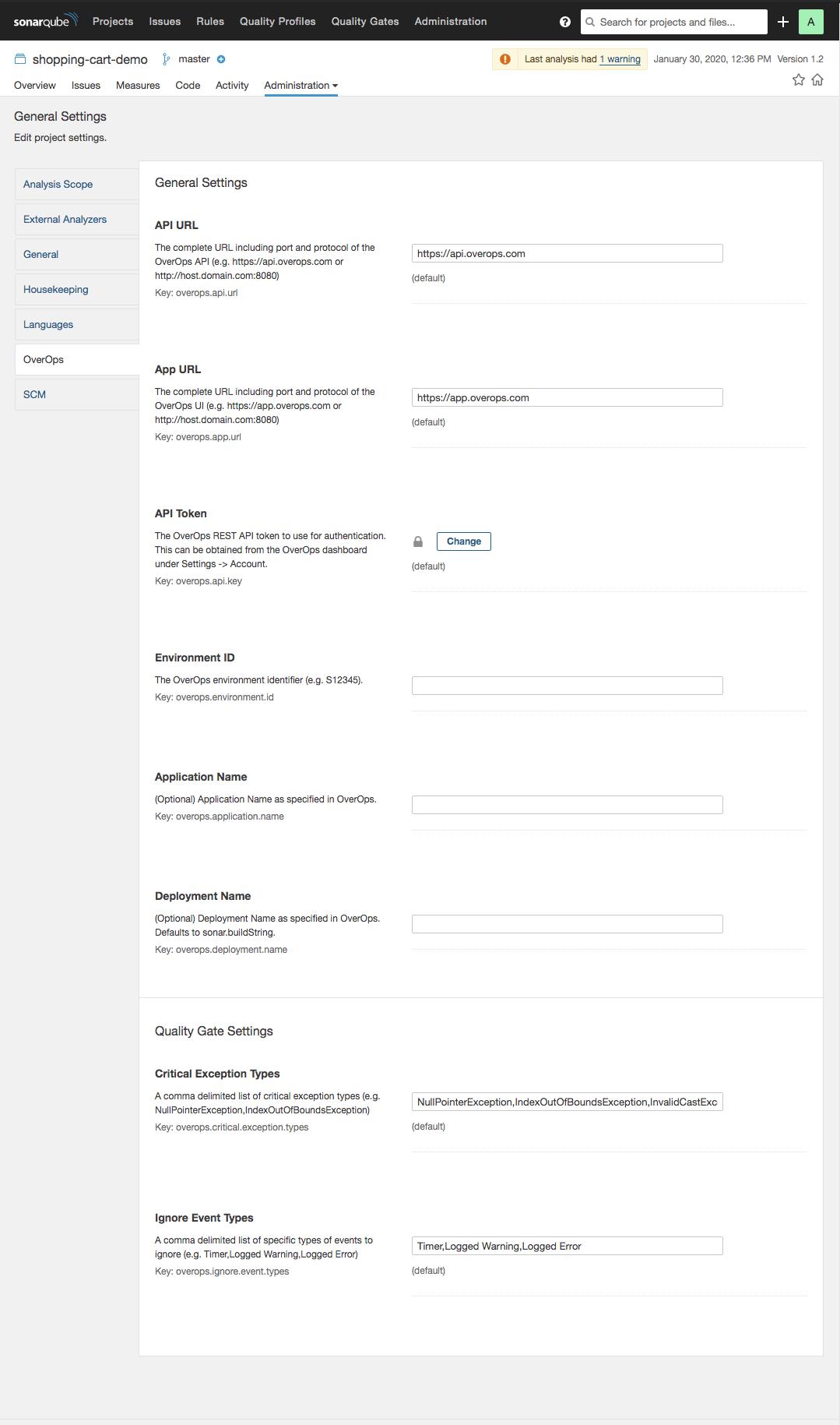 Configure the OverOps plugin in SonarQube