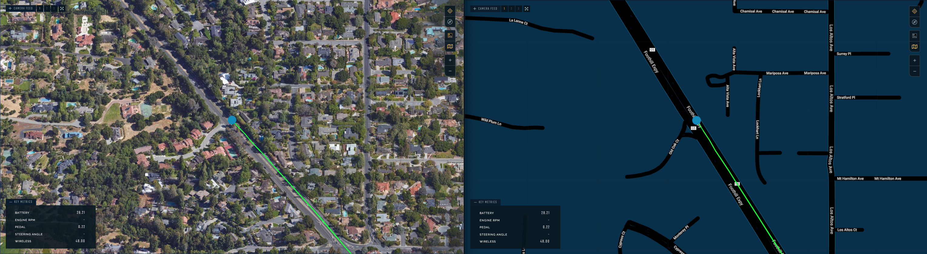You can use a satellite or simplified street map for navigation.