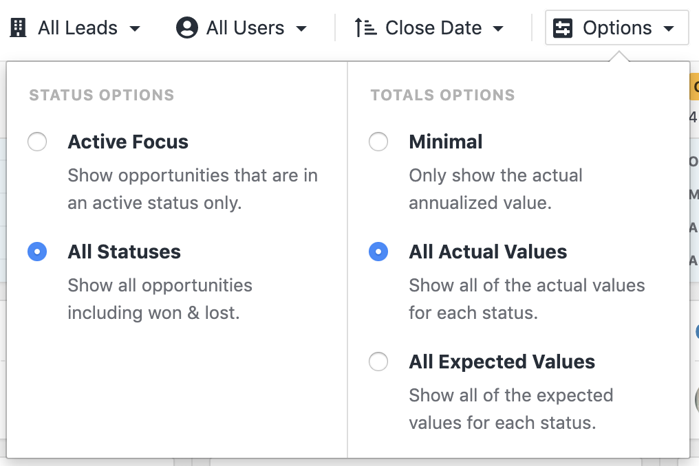 Filter to display options to view only active Opportunities, configure how Opportunity values are displayed, and sort the order in which they appear