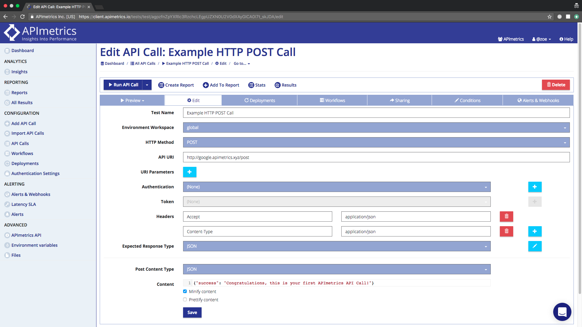 What the Edit screen for your predefined call looks like