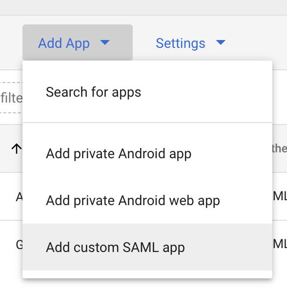 Add SAML app dropdown