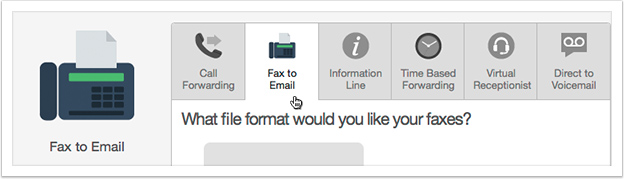 Select 'Fax to Email' from the drop down