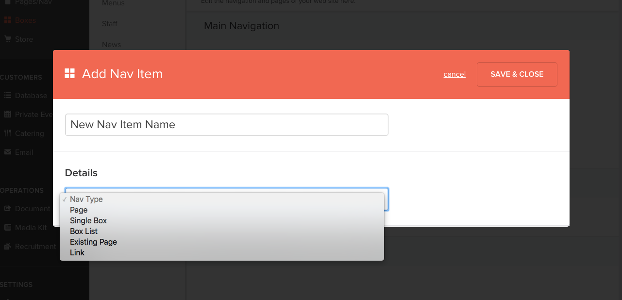 The Add Nav Item modal interface