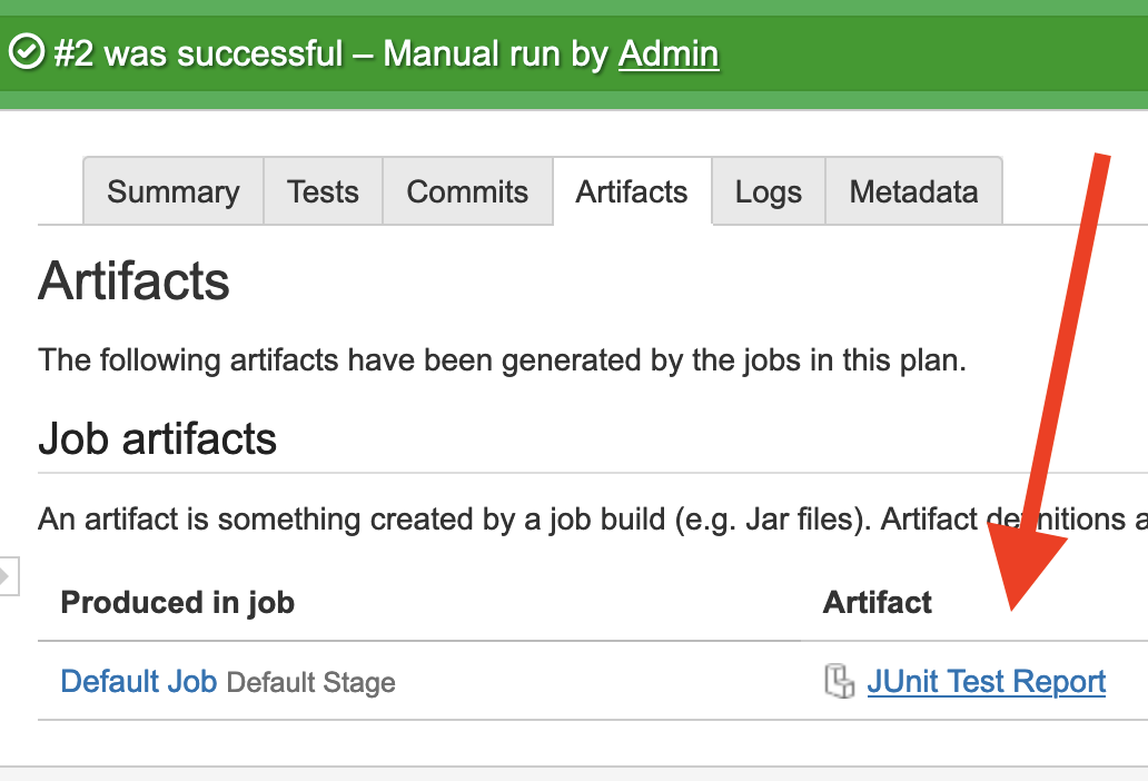 JUnit test report link on the Artifacts tab of the plan run
