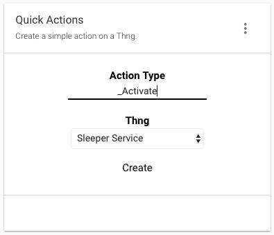 The example Quick Actions widget
