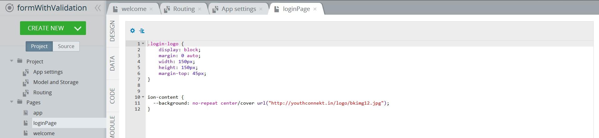Modifying SCSS of **loginPage**