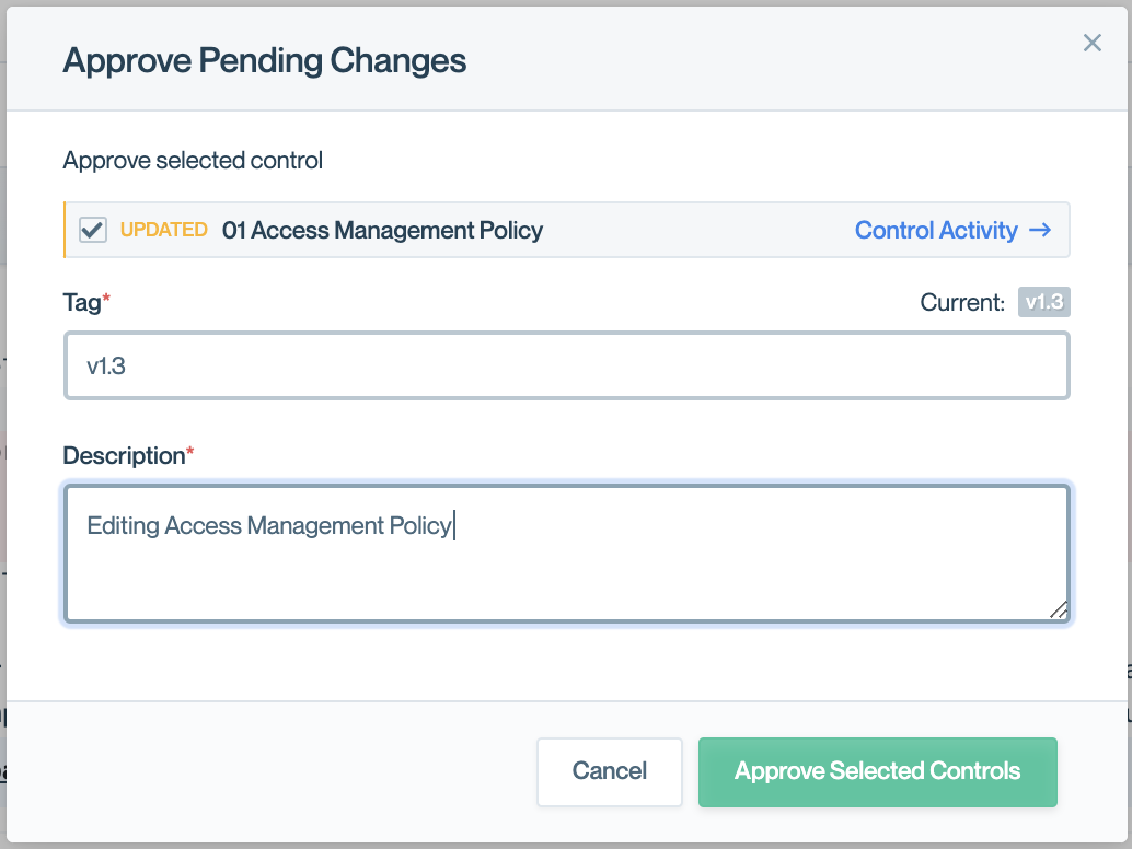 """The approval modal filters to just the selected control when clicking """"Approve"""" from a Control Detail View."""