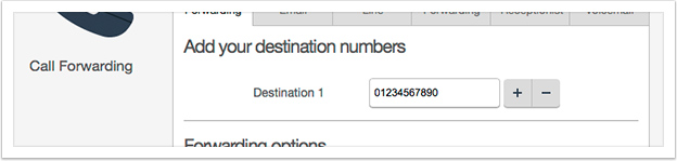 Type the destination number into the input