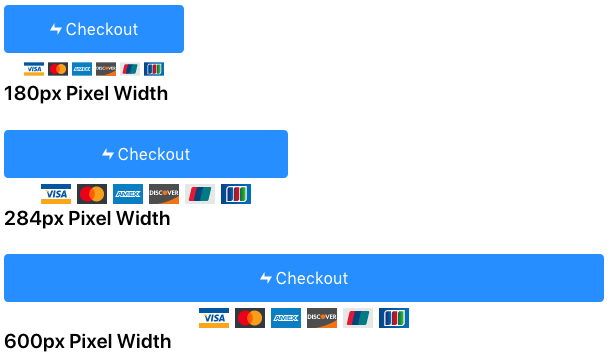 Flexible checkout button option with different size parent containers
