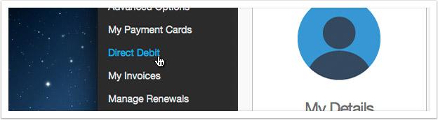 Click the 'Direct Debit' link in the left hand menu