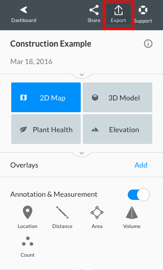 Navigate to the Export option at the top of your dashboard.