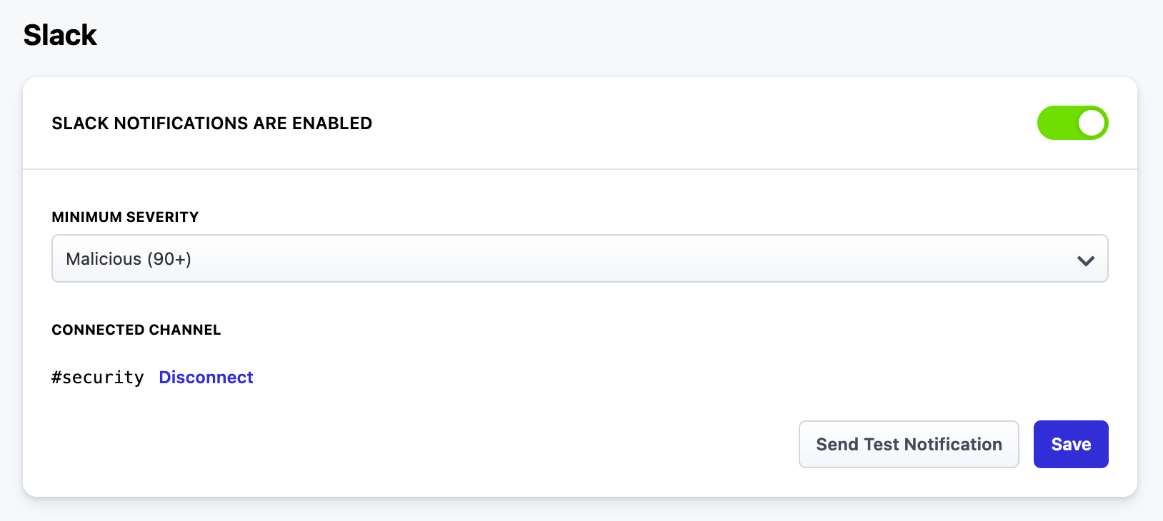 The Slack Integration can be found in the Dashboard Settings - Threat Alerts page