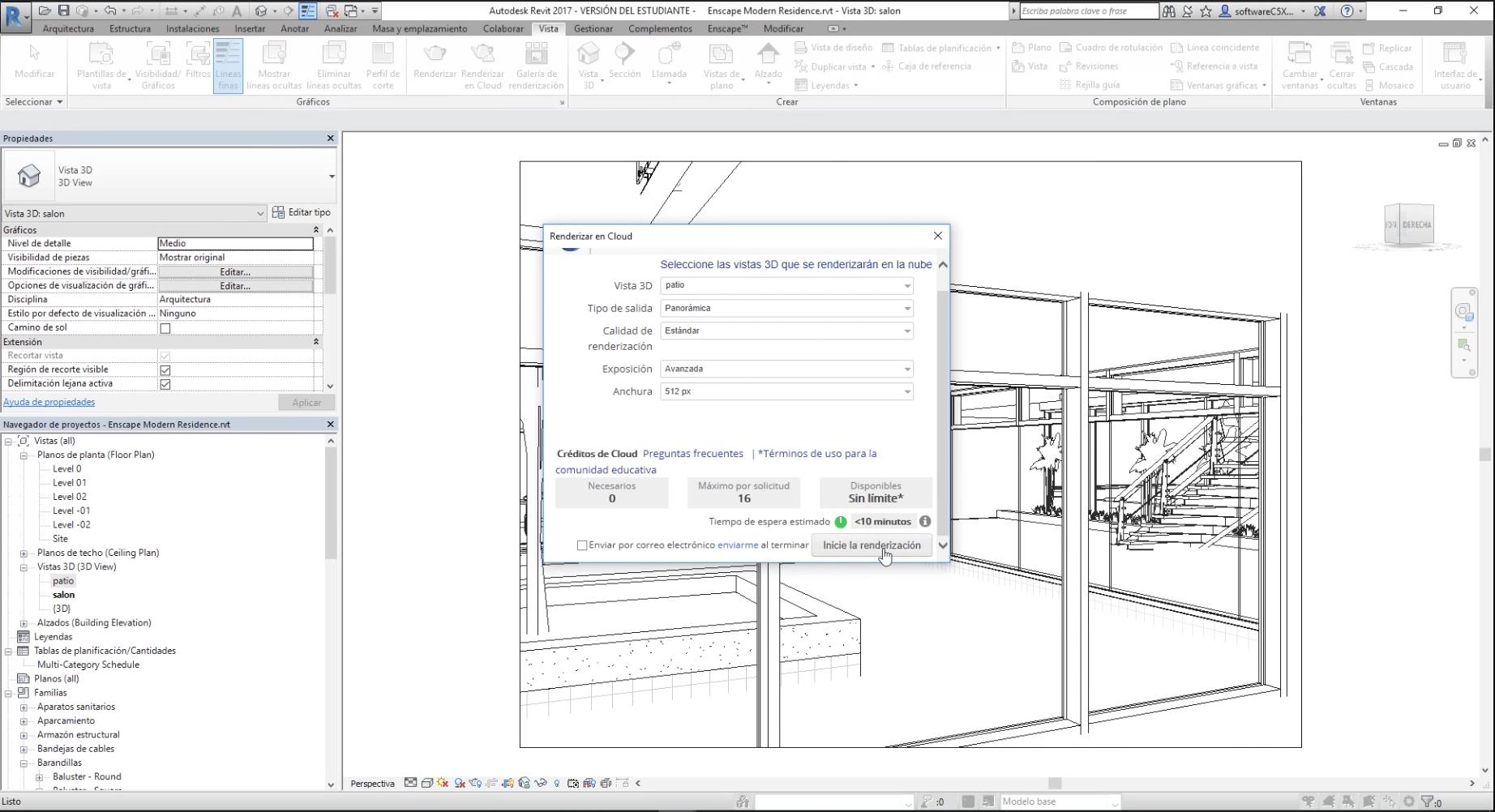 """Para simplificar el ejemplo, renderizaremos sólo la vista """"Patio""""  y en baja calidad, para que tome menos tiempo. En esta ventana, también tendrás información de tus créditos en Autodesk 360's y tiempo estimado de renderizado."""