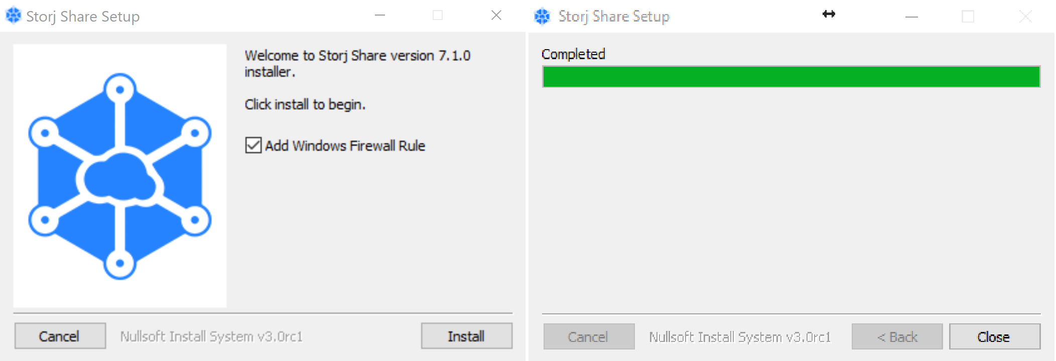 *Figure 2.3. Storj Share GUI installation.*