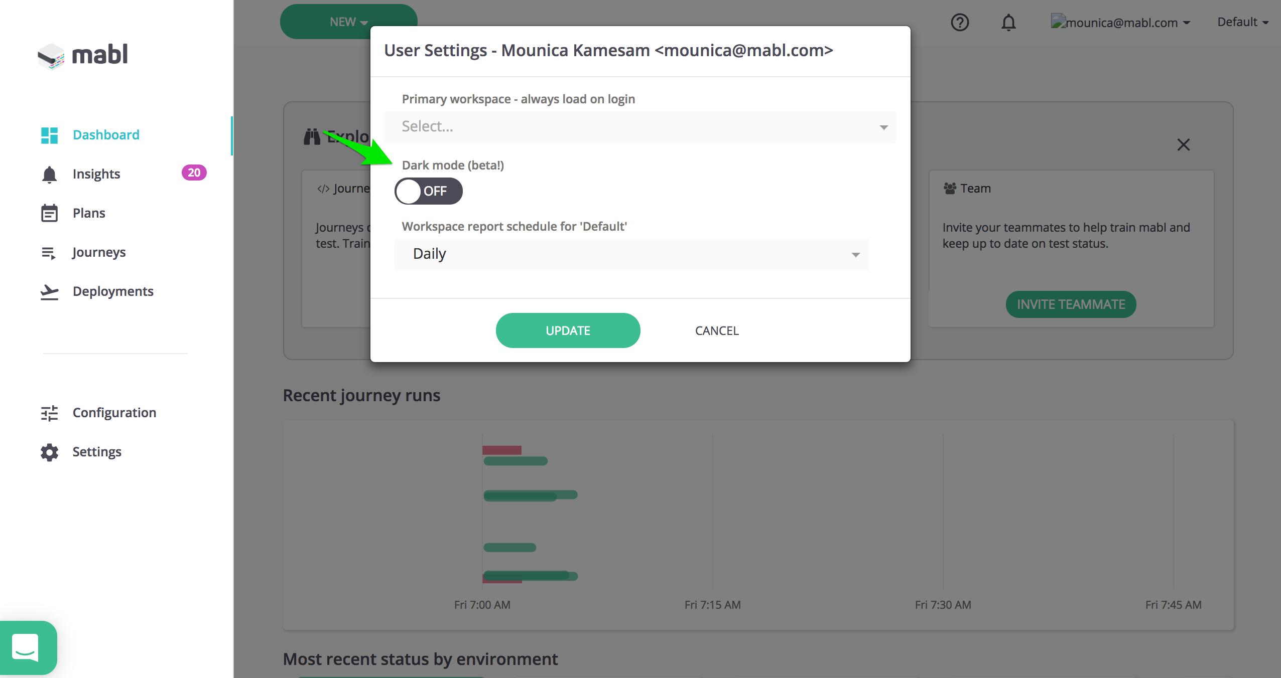 User Settings --> Dark Mode