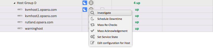 Contextual menu of a Host