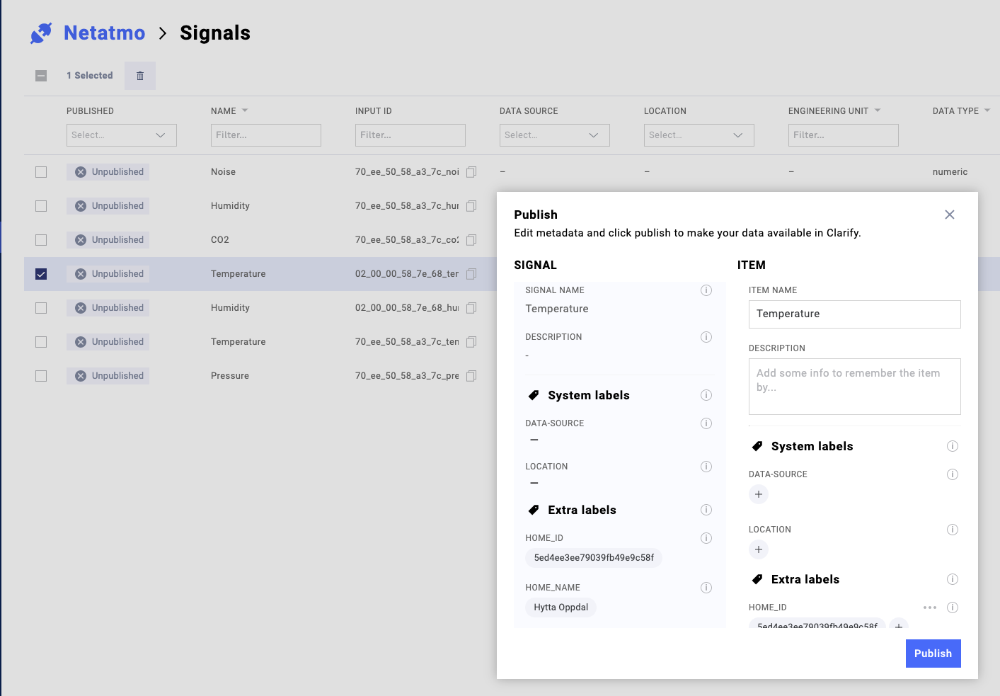 Publish the signal (create an item) to make it visible in the UI.