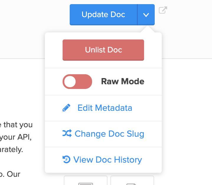 To access the modal, click on the chevron next to the save button, and click on Edit Metadata.